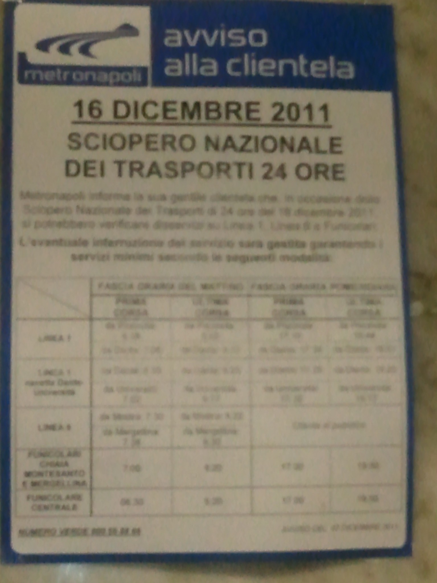 Sciopero metropolitana di Napoli del 16 dicembre 2011
