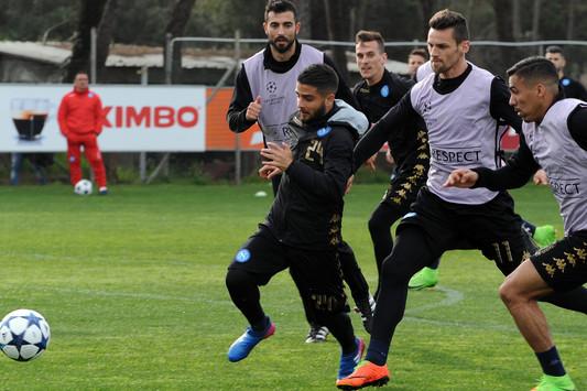 Allenamento del Napoli in vista della partita di Champions League con Il Real Madrid.